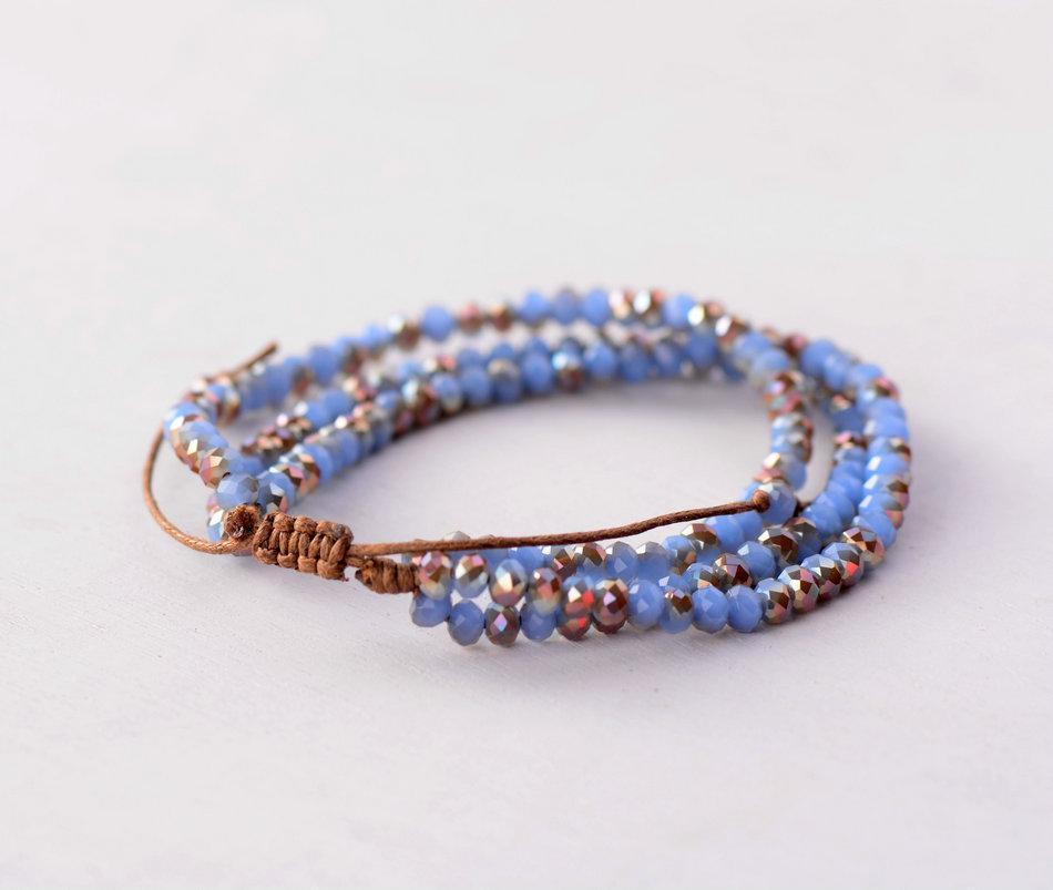 Aysen Half Plating Crystal Bead Braided Bracelet