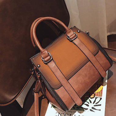 Nonce Patchwork Double Zipper Vintage Handbag