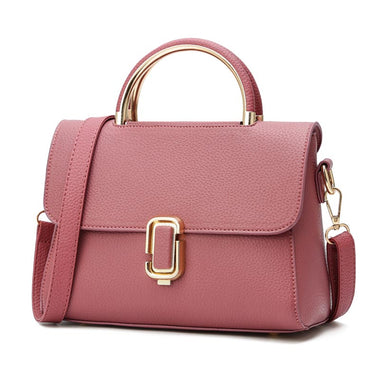 Philise Leather Metal Lock Tote Handbag
