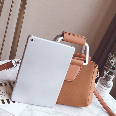 Image of Fran Scrub PU Leather Metal Handle Handbag