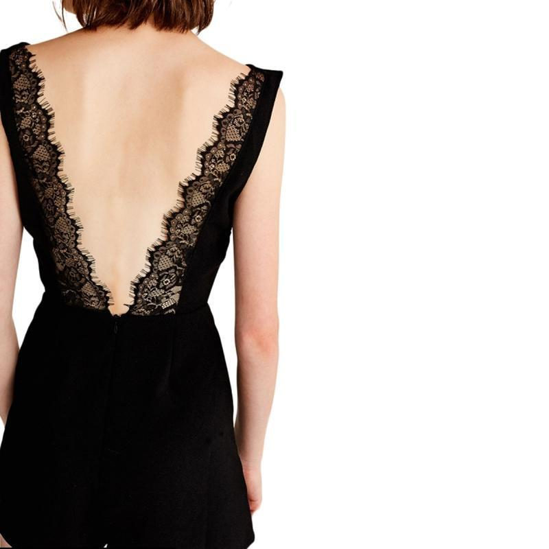 Clémence Black Lace Hollow Out Back Romper