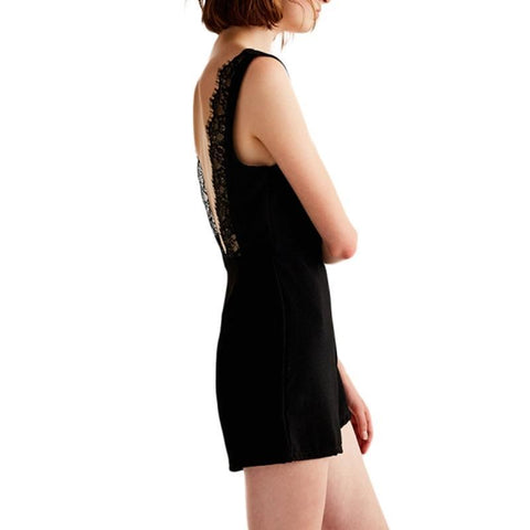 Image of Clémence Black Lace Hollow Out Back Romper