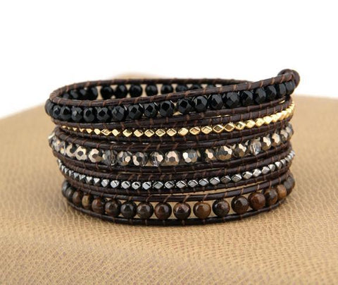 Image of Gilahna Gold Silver Beads Leather Bracelet