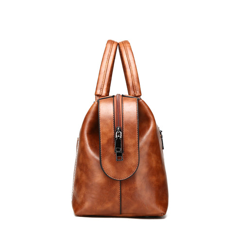 Image of Creuza Oil Wax PU Leather Tassel Handbag