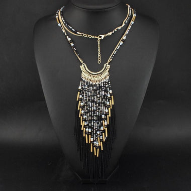 Krama Tassel Statement Necklace