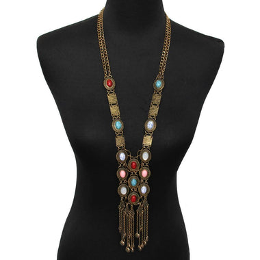 On Your Way Multicolor Faux Stone Tassel Necklace