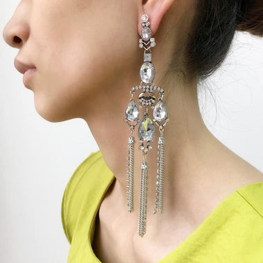 Dima Crystal Silver Chain Tassel Earrings