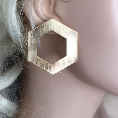 Pua Wiredrawing Hexagon Earrings