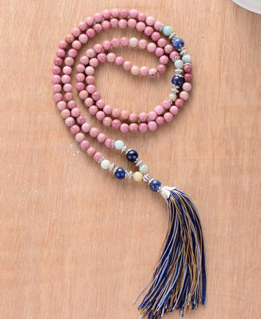 Shakela Rhodonite Stone with Colorful Tassel Necklace