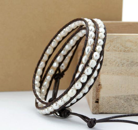 Image of Amihan Pearl Leather Wrap Bracelet
