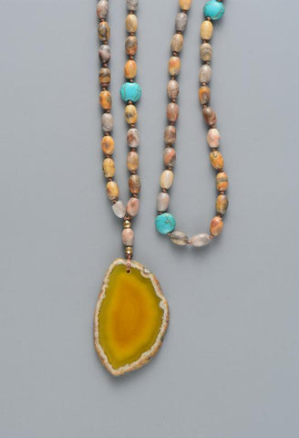 Image of Fairuza Rice Shape with Onyx Slice Pendant Necklace