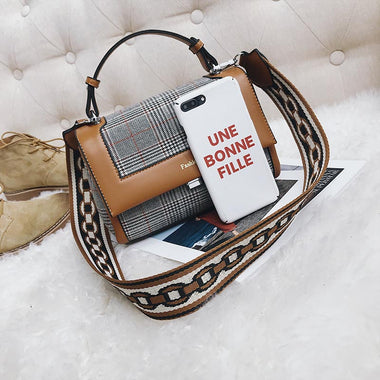 Prisque Plaid Wide Shoulder Strap Handbag