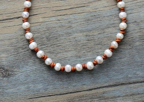 Image of Galia Pearl Leather Necklace