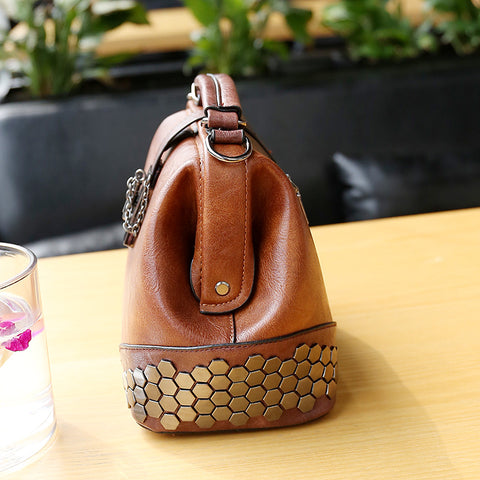 Medaline Leather Sequined Shell Handbag