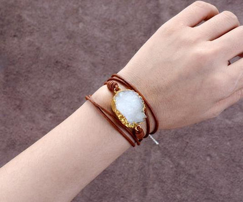 Image of Bilge Leather with Gilded Druzy Charm Bracelet