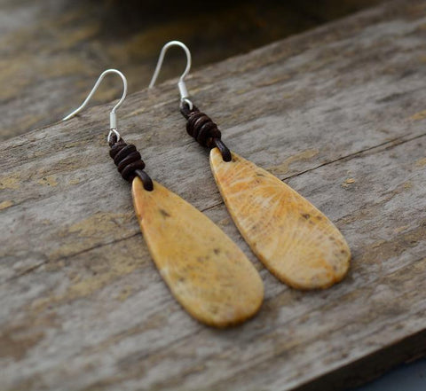 Image of Acca Natural Stones Leather Bohemian Earrings
