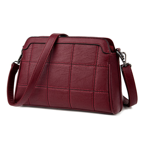 Ilea PU  Leather Plaid Messenger Handbag