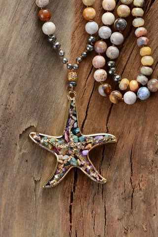 Tulaya Chrysanthemum Stone Starfish Pendant Necklace