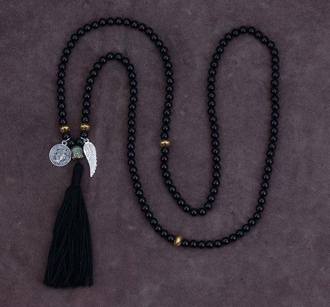 Gozde Black Onyx Charm Beads Necklace
