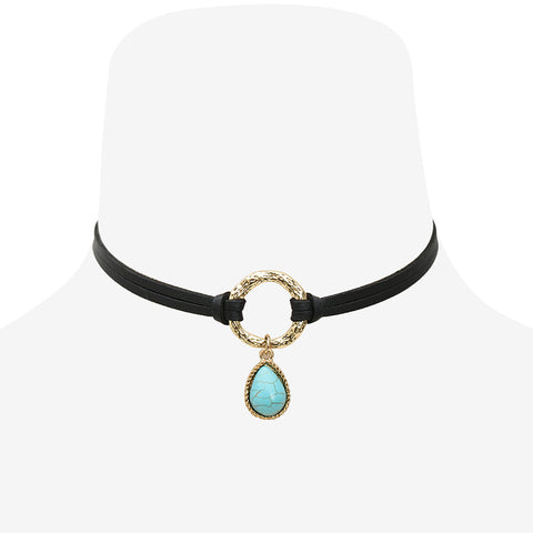 Consuela Black Leather Double Layer Choker Necklace