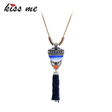 Long Snake Chain Blue Acrylic Beads Pendant Necklace Unique Alloy Vintage Necklaces for Women Fashion Jewelry