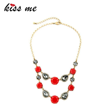 Red & Clear Geometric Water Drop Layered Necklaces for Women Popular Bib Statement Necklace Indian Jewelry