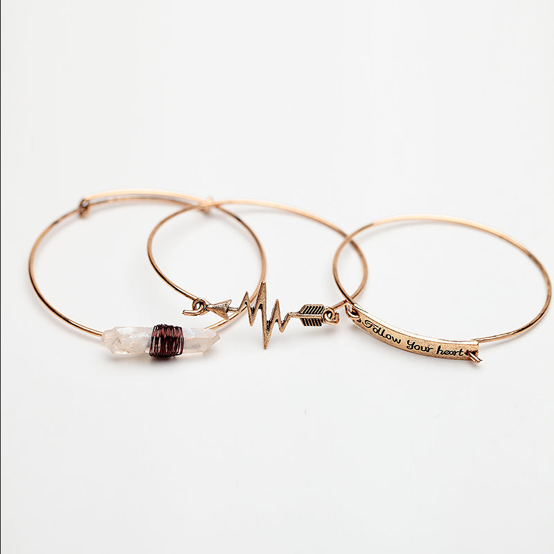 3PCS Handmade Alloy Cuff Bangles Set Vintage Gold&Silver Natural Stone Arrow Follow Your Heart Letter Infinity Bangle for Lover