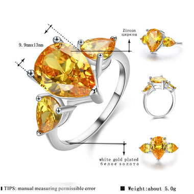 Women's White Gold Color Wedding Rings for Women Engagement Ring Yellow AAA Zircon Jewelry Fashion Bague Size 6 7 8 9 10 H001