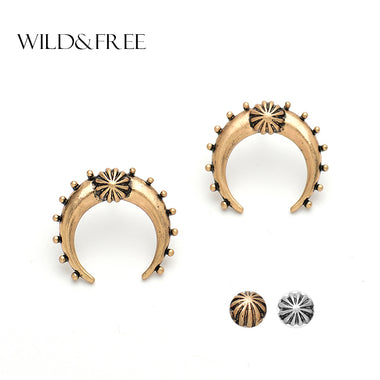 Women Bohemia Antique Gold Zinc Alloy Horn Stud Earrings Vintage Antique Silver India Statement Europe Stud Earrings Jewelry