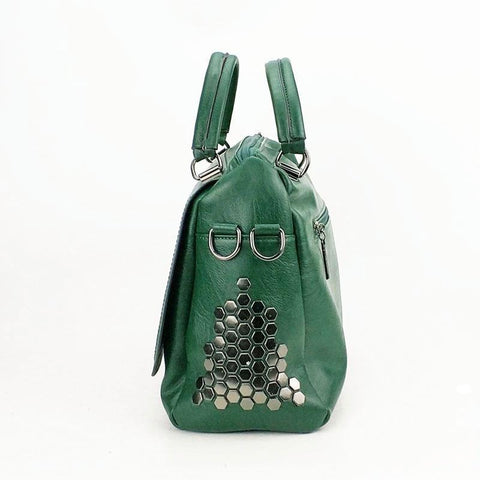 Love Soft Leather Solid Rivet Messenger Handbag