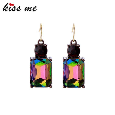 New Styles Women 2017 Fashion Jewelry Elegant Glass Square Earrings for Women