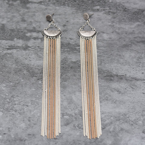 Image of 2017 New Bohemia Long Tassel Dangle Earrings For Women Vintage Antique Silver Statement Drop Earrings Fashion Jewelry Brincos