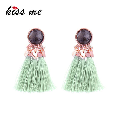 Light Green Tassel Women Earrings Personalized Maxi Large Hanging Drop Earrings Fashion Jewelry