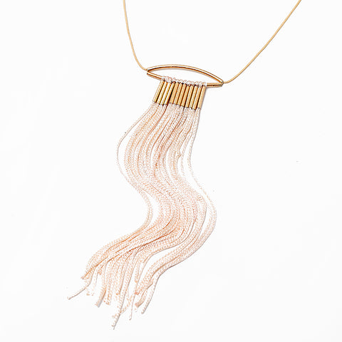 2016 Women New Design Long Rope Tassel Gold Tube Necklace Pink Farabic Adjustable Collar Necklace For Female Jewelry Wholesale