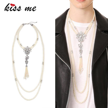 Classic Long Multi Layers Imitation Pearls Necklace Geometric Crystal Tassel Pendant Necklace Women Bijoux