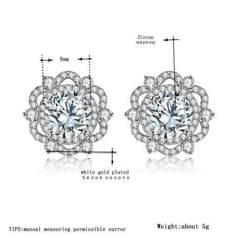 Image of Women's Stud Earrings for Women White Gold Color Jewelry Flower AAA zircon Boucle D'oreille Wedding Brincos A071