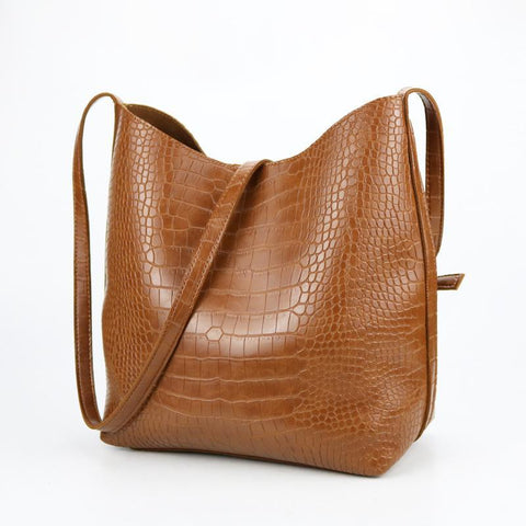 Image of Bean PU Leather Large Shoulder Handbag