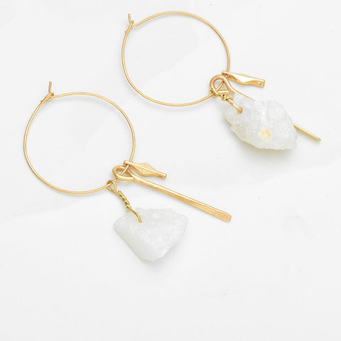 Mintuu  Geometric Pendant Hoop Earrings