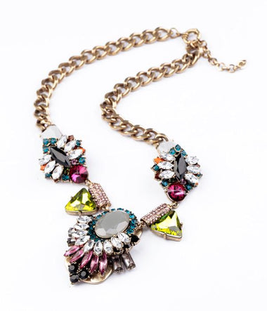 Women Statement Necklace Trendy Style Acrylic Resin Geometric Chunky Necklace Women Retro Accessories