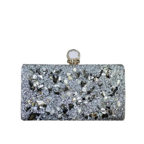 Rania Black Crystal Evening Metal Clutch