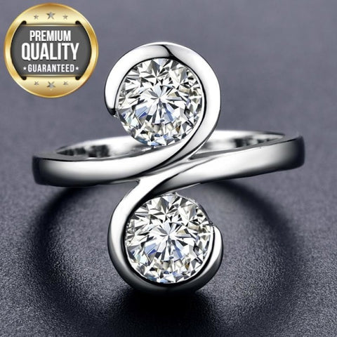 Women's White Gold Color Wedding Rings Round AAA Zircon Engagement Jewelry for Women Engagement Bijoux Bague Size 5-12 H1099