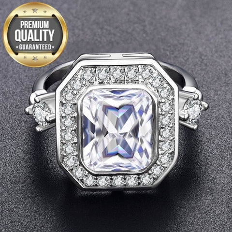 Women's Noble White Gold Color Engagement Rings for Women Wedding Clear AAA Zircon Fashion Jewelry Bague Bijoux Size 6 7 8 H835