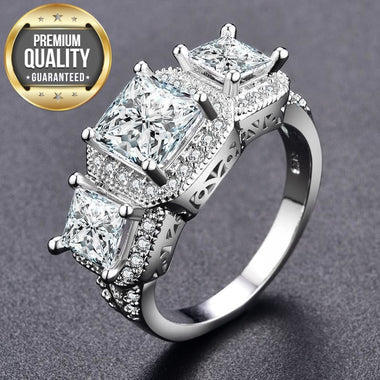 Women's White Gold Color Rings For Women women Wedding rings Jewelry Bijoux ring vintage Accessories ring Size 6 7 8 MSR170