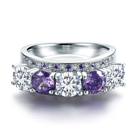 Women's White Gold Color Rings For Women Fashion Wedding Ring Vintage Purple Stone Ring AAA Zircon Jewelry Size 6 7 8 MSR901