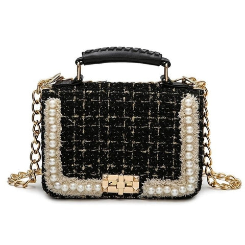Image of Leonarde Pearl Pendant Women Small Flap Handbag