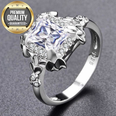 Women's Noble White Gold Color Engagement Rings for Women Wedding Clear AAA Zircon Jewelry Bague Bijoux Size 6 7 8 Z007-Y-W