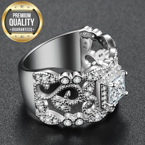 Image of Women's White Gold Color Round Wedding engagement Rings for Women AAA Zircon Jewelry accessories Bague Bijoux Size 6-10 R1034
