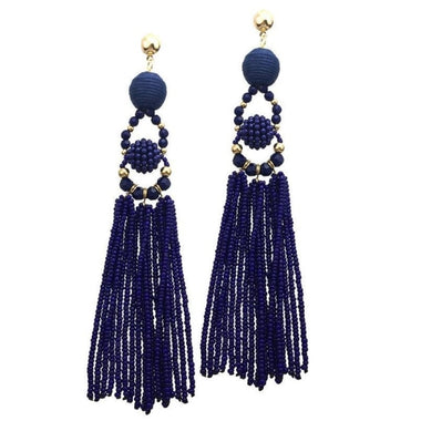 Mina Resin Bead Tassel Earrings