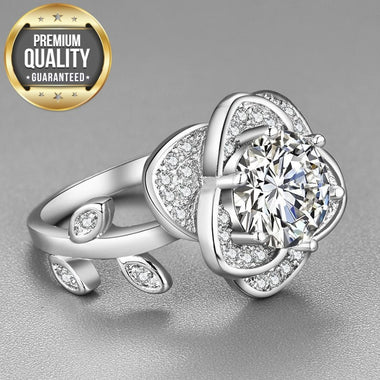 Women's White Gold Color Rings for Women Flower Wedding Clear AAA Zircon Trendy Romantic Jewelry Bague Bijoux Size 5-12 R1067