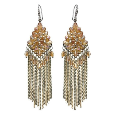 Mina Crystal Long Chain Tassel Earrings